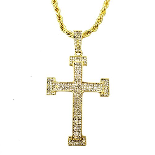 HH Bling Empire Mens Hip Hop Gold Imitation Diamond Micro Paved Cross Pendant Jewelry Necklace (Cross (Cross Gold Bling)
