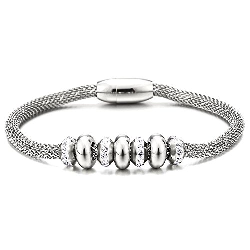 COOLSTEELANDBEYOND Exquisite Stainless Steel Charm Bracelet for Women with Steel Bead String and Cubic Zirconia