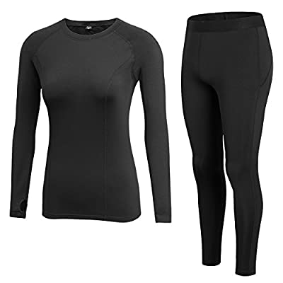 Fitibest Women Baselayer Set Long Sleeve Quick-dry Compression T-Shirt and Pants Sports Suit with Fleece Lining