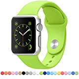 FanTEK Soft Silicone Sport Style Replacement iwatch Strap for Apple Wrist Watch 38mm Models - Small/Medium - Green