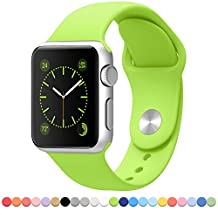 FanTEK Soft Silicone Sport Style Replacement iwatch Strap for Apple Wrist Watch 42mm Models - Small/Medium - Green