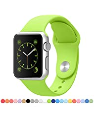 Apple Watch Band - FanTEK Soft Silicone Sport Style Replacement iWatch Strap for Apple Wrist Watch 42mm Models M/L Size (Green)