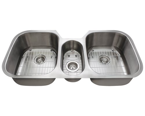 The Polaris Sinks P1254 18 Gauge Kitchen Ensemble (Bundle - 7 Items: Sink, 3 Standard Strainers, and 3 Sink Grids) ()