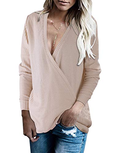 Wrap Front Sweater - OUGES Womens Knitted Wrap Front Deep V-Neck Sweater Long Sleeve Loose Pullover Jumper Tops(Khaki,M)