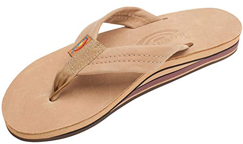 Womens Rainbow Sandals Premier Leather Double Stack Wide Strap - Brown, X-Large