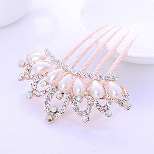 Werrox Women Girls Pearl Flower Crystal Rhinestone Five-toothed Hair Comb Clip Hairpin | Model HRBRSH - 1213 |