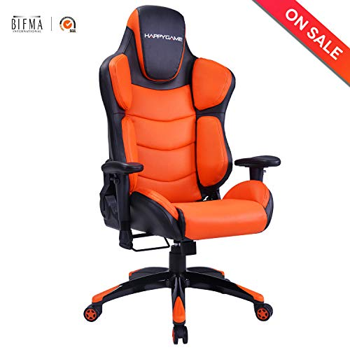 Racing Gaming Chair Ergonomic High-Back Oversized Office Executive Chairs Adjustable Height PU Leather Computer Desk Chair (Orange) LCH