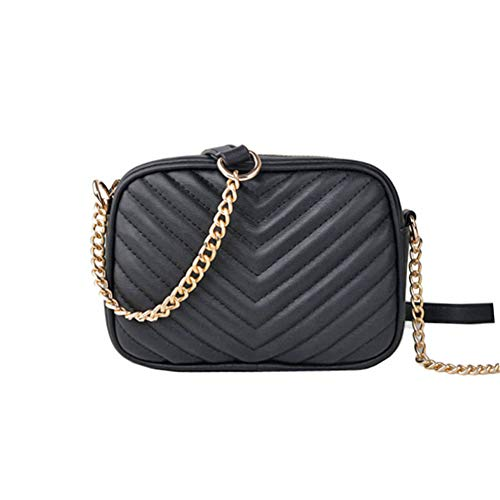 - Leather Quilted Purse for Women Black Shoulder Bags with Chain Strap Super Cute(Black Square)