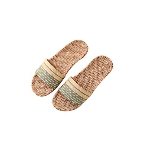 lino Zapatillas madera de Verde Zapatillas Inicio de y Antideslizante Pareja de Mujeres Pavimentos hombres Verano Fondo interior TELLW grueso Casa qwtXfX