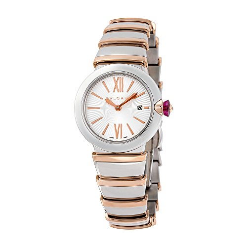 Bvlgari LVCEA Silver Opaline Dial 18kt Pink Gold and Stainless Steel Ladies Watch 102193
