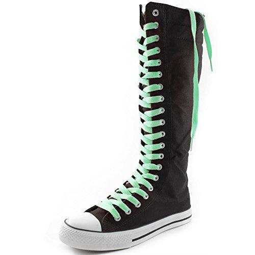 Dailyshoes Damesschoen Mid Kalf Lange Laarzen Casual Sneaker Punk Flat, Zwarte Laarzen, Perfect Groen Kant