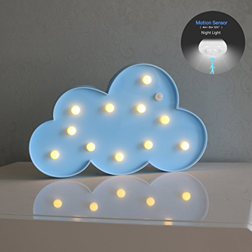 Battery Powered Motion Sensor LED Cloud Night Light, Lovely Marquee Cloud Sign Human Body Induction Bedside Lamp for Children Baby Nursery Breastfeeding Bedroom Room Birthday Gift(Blue Cloud) (Old Body 09)