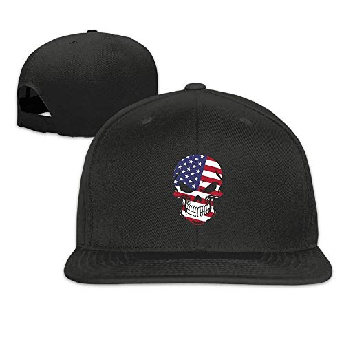 Jia3261 American Flag Skull Flat-Brimmed Hip-Hop Style Baseball Cap Outdoor Snapback Hat