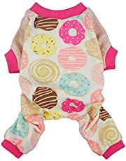 Fitwarm Sweetie Donuts Pet Clothes for Dog Pajamas Soft Cotton Shirts PJS, Pink, XL