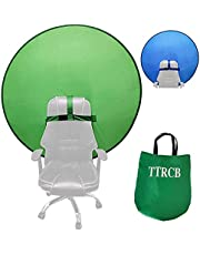 """Gen2 Collapsible Dual-Sided Green+Blue Screen Backdrop Portable 43""""/110cm Webcam Green Background for Chair Photo Zoom Video Chats Studio,Chroma Key Green,Foldable Photography Green Screen Background (Green+Blue)"""