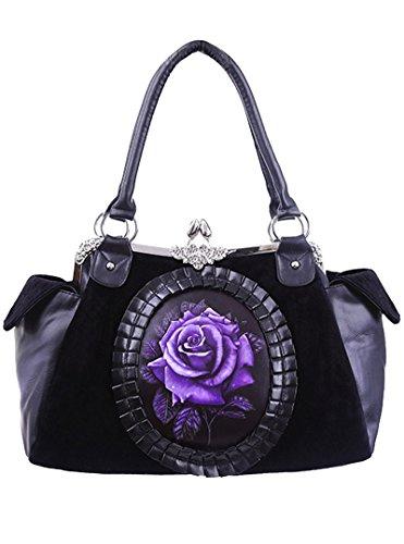Sac gothique romantique victorien noir avec velours rose violette