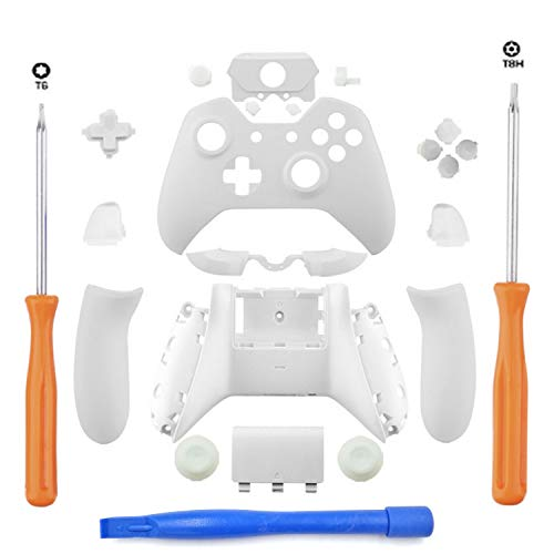 DeHasion Replacement Matte Controller Full Housing Shell Full Set Faceplates Buttons for Xbox One Controller with The 3.5 mm Headset Jack Xbox One Controller Shell Kit with 3.5 Port (White)