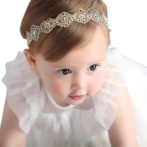 (Honbay Lace Flower Elastic Headband with Crystal for Baby Girls)