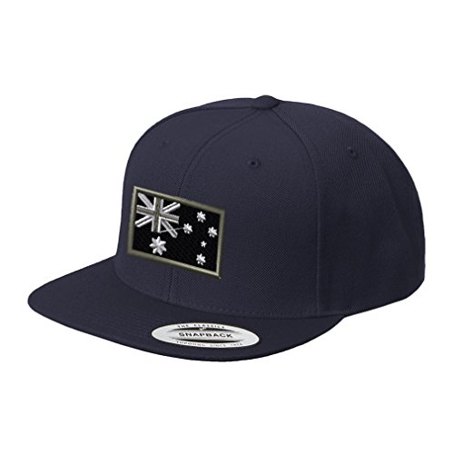 Black White Australia Flag Embroidered Flat Visor Snapback Hat Navy (Cap Australia)