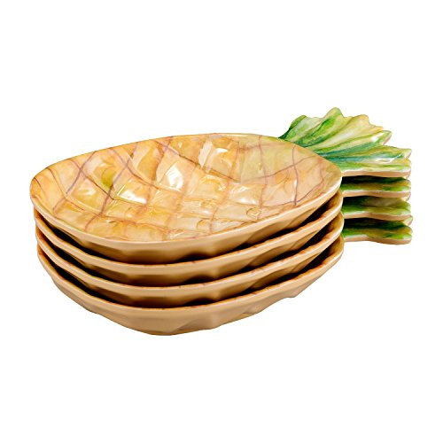Gourmet Art 4-Piece Pineapple Melamine 7-inch Plate