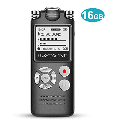 Digital Voice Recorder,KAYOWINE 1536kbps 16GB 18 Recording Hours Sound Audio Recorder with Headphone and OLED Screen for lectures, Meetings, interviews