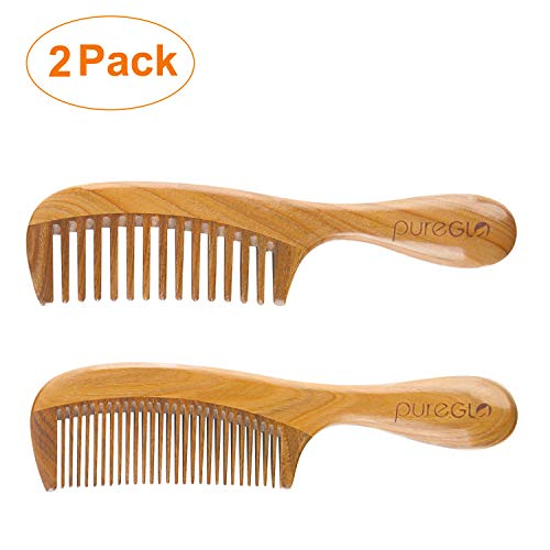 Handmade Wooden Comb Set [Gift Box] - pureGLO Natural Green Sandalwood Anti-Static Fine & Wide Tooth Hair Combs for Men Women and Kids