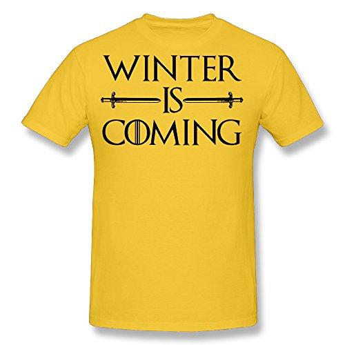 Memoy Men's Winter Is Coming Thrones Tees Summer S Yellow