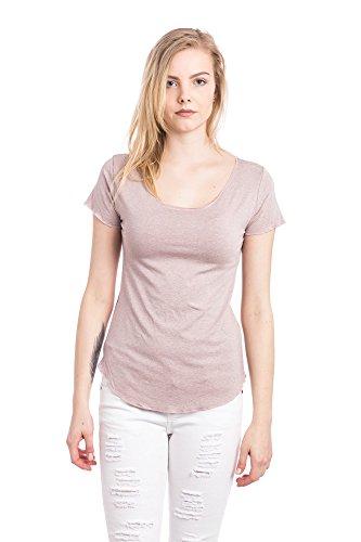 Abbino 267923 Basics Camisetas Tops Camisas para Mujer - Hecho en ITALIA - 5 Colores - Verano Otoño Entretiempo Casual Chica Vintage Fiesta Elegantes Fitness Interiores Rebajas Manga Corta Rosa
