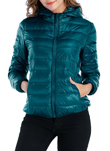 Sarin Mathews Womens Packable Ultra Lightweight Down Jacket Outwear Puffer Coats Acidblue M