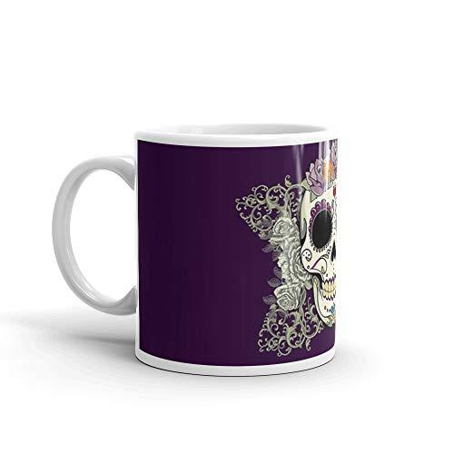 Vintage Skull and Flowers Mug 11 Oz White Ceramic