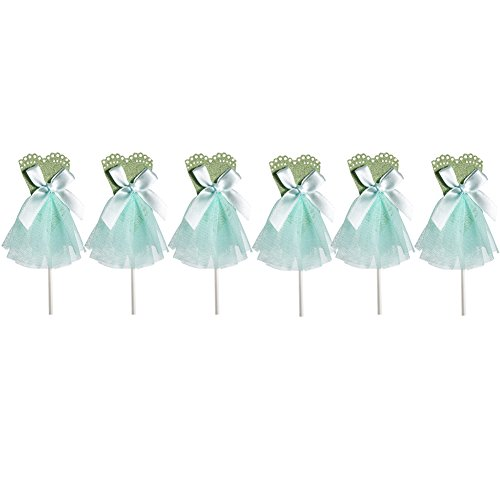 [Qteland Fairy Dress Cupcake Toppers 6PCS Decorations for Baby Showers Picnic Themed wedding Birthday Party Favors for] (Easy Decorated Halloween Cupcakes)