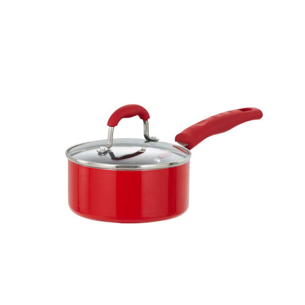 XMM Small Sauce Pan, Non Stick Sauce Pan Forged Aluminium Milk Pot with Glass Lid Easy Clean, Suitable, for Induction Cooker General Purpose 16Cm (Red)
