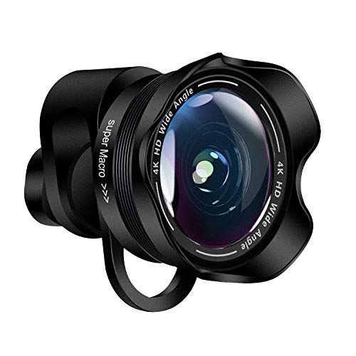 (Phone Camera Lens,TODI 4K HD 2 in 1 120° Wide Angle Lens, 20X Macro Lens,Clip-On Phone Lens Compatible iPhone,Samsung, Most Andriod Phones No Distortion)