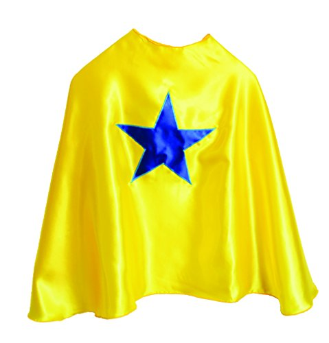 Superhero Cape with emblem (Yellow with blue (Superhero Yellow And Blue Costume)
