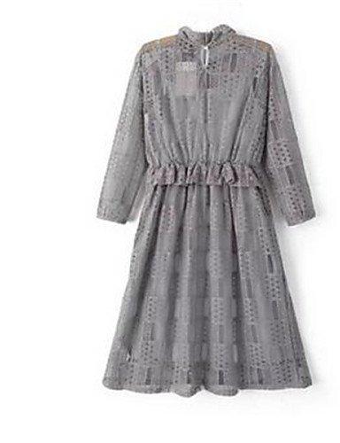 PU&PU Robe Aux femmes Ample Simple,Imprimé Col Arrondi Au dessus du genou Polyester , gray-one-size , gray-one-size