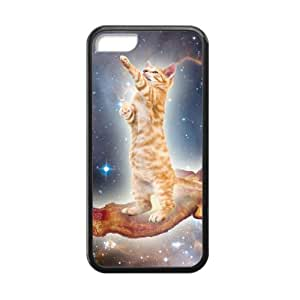 Bacon Cat in Space Pattern iPhone 5C Case Covers Anti-Scratch Extreme Protection Compatible with iPhone 5C TPU(Laser Technology)