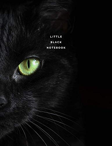Little Black Notebook: Halloween Edition Minimal Cat Journal with Back Index 8.5
