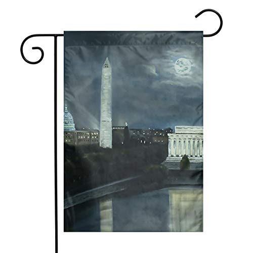 Suge@HAT Washington DC Under Moonlight Garden Flag Indoor & Outdoor Decorative Flags for Parade Sports Game Family Party Wall Banner 1218inch ()