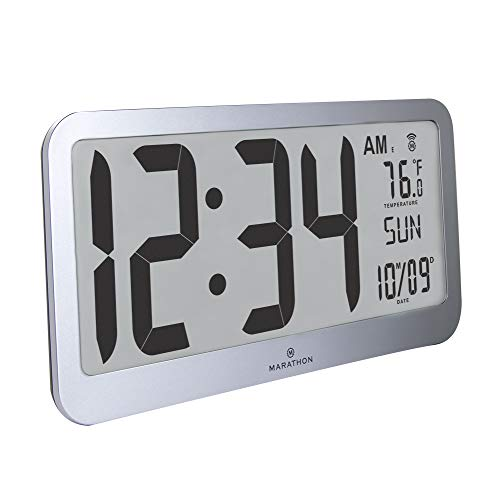 Marathon CL030033JUMBO Slim Jumbo Panoramic Atomic Wall Clock with Date and Indoor Temperature. Commercial Grade with Big 6-Inch Numbers, Alarm and Table Stand. Batteries Included (Graphite Grey)
