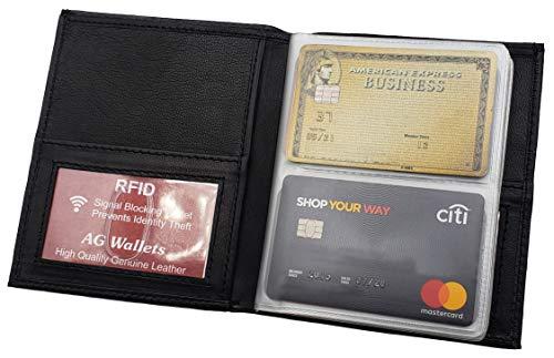 55daae48a65f ag wallets RFID Signal Blocking Leather European Hipster Wallet, Black, 5 x  4.5-Inch