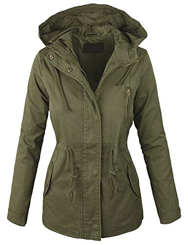 Lock and Love LL Women Military Anorak Safari Hoodie Jacket M Olive