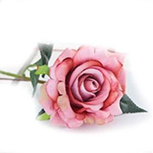 XuanhemenL Plastic Fabric Silk Artificial Rose Flower Arrangement for Wedding Home Décor Barbie Pink 58