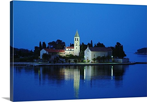 Aldo Pavan Premium Thick-Wrap Canvas Wall Art Print Entitled Croatia, Dalmatia, Vis Island, Sv Jere Church