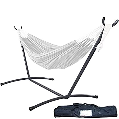 "Lazy Daze Hammocks 9 feet Space Saving Steel Hammock Stand Portable Hammock Stand with Carrying Bag Only, Capacity 450 Pounds - ✔ The 9 Feet Space Saving Hammock Stand is made of durable steel with a powder-coated, black finish, only easy care needed for maintenance. ✔ Stand dimension: 115""(L) x 48""(W) x 43""(H); Accommodate 2 adults, Weight capacity up to 450 lbs. Feel free to swing on it with safety ensured. ✔ This 9ft hammcok stand is very easy to assemble and dissemble, with a carrying case, easy to transport and storage wherever you want. - patio-furniture, patio, hammocks - 41Xpc1xqNIL. SS400  -"