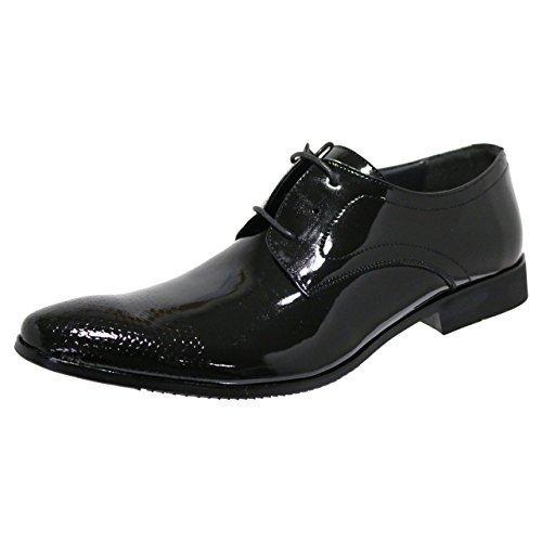Robelli Designer Herren Leder mit Lackleder Schuhspitze Smart Schnür Kleid Schuhe