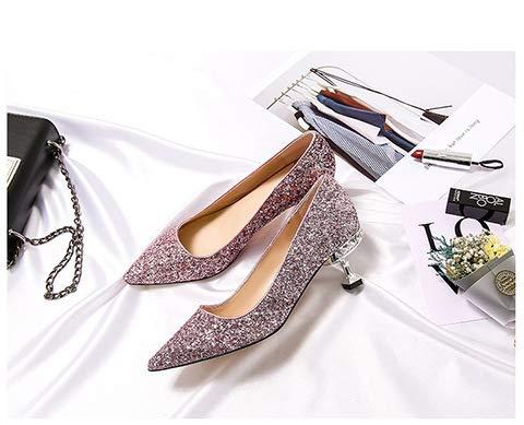 De Negro Aguja Yukun Cristal Hembra zapatos de Pink Tacones Aguja Tacón Tacón con Puntiaguda Zapatos Individuales Tacones De Acentuados con Alto tacón alto YqzwraY