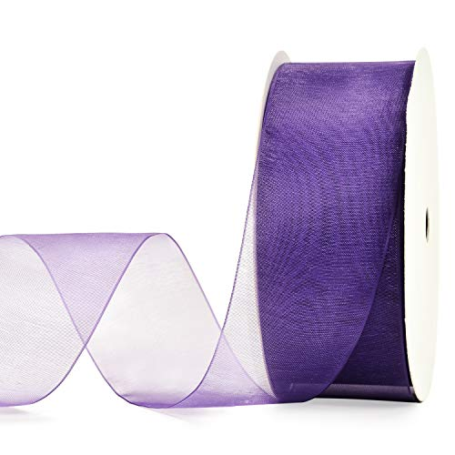 YAMA 1-1/2 Inch Organza Ribbon Roll - 25 Yards for Gift Wrapping, Bouquet Wrapping, Decoration, Craft, Purple