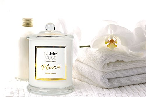 LA JOLIE MUSE Plumeria Scented Candles 100% Soy Wax Glass Jar, 55 Hours BURN, Fine Home Fragrance, Gifts Candle Glass Fill Candle Wax