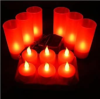 YM Lamp recargables LED sin llama de vela para Festival de luz decorativa 6pcs LED rojo, 220–240V