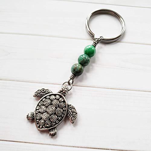 Hawaiian Honu Sea Turtle Keychain with Green Stone Beads